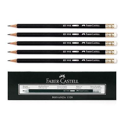 12Pcs 1Dozen Faber-Castell 1112 Black Graphite Pencil HB with Rubber Eraser Tip