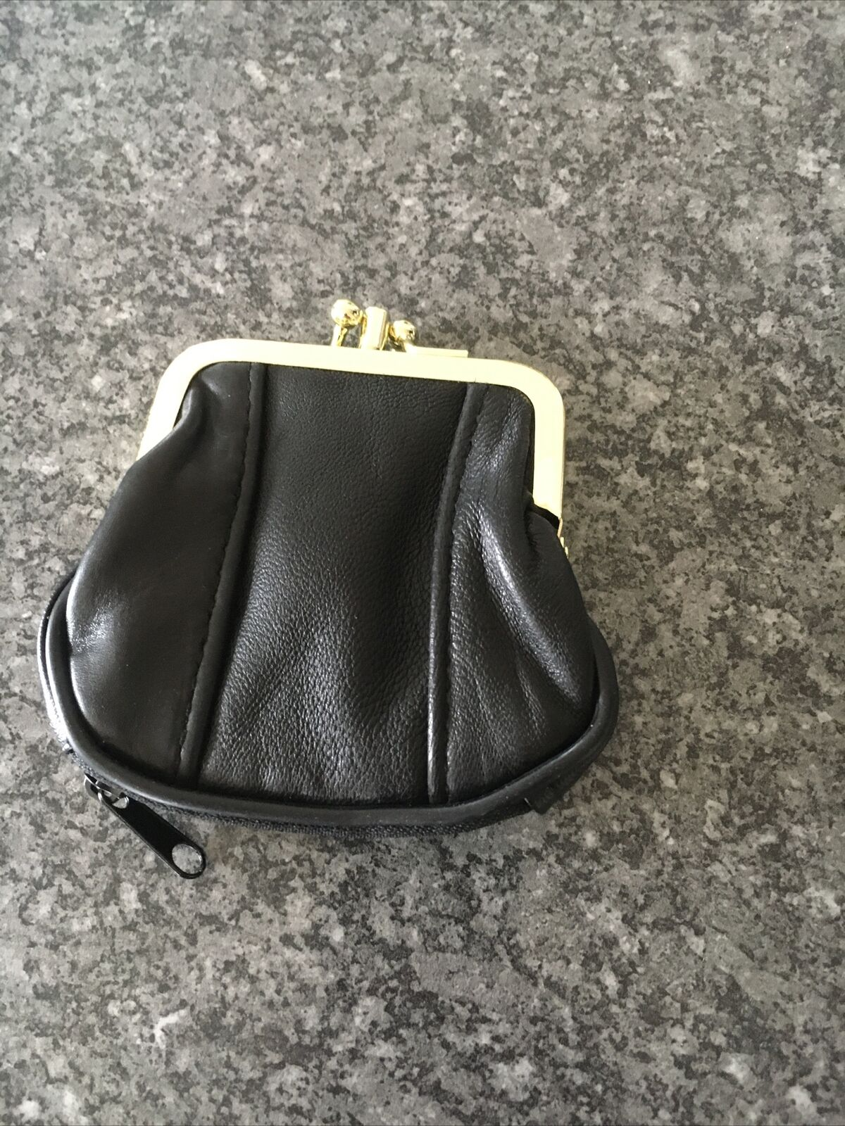 Leather Coin Purse In Black