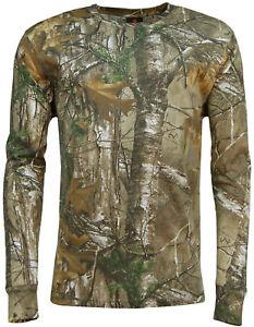 Para-hombres-mangas-Largas-Bosque-Camo-T-Shirt-Woodland-Camuflaje-Realtree-Impresion-Superior