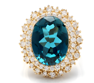 13.40 Carats Natural LONDON blueE TOPAZ and Diamond 14K Yellow gold Ring