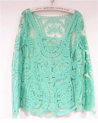 New Fashion Women Long Sleeve Shirt Casual Lace Blouse Loose Tops T Shirt M-XXL