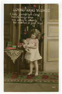 1910s-Cute-Children-Child-Cute-LITTLE-GIRL-w-DOLL-photo-postcard