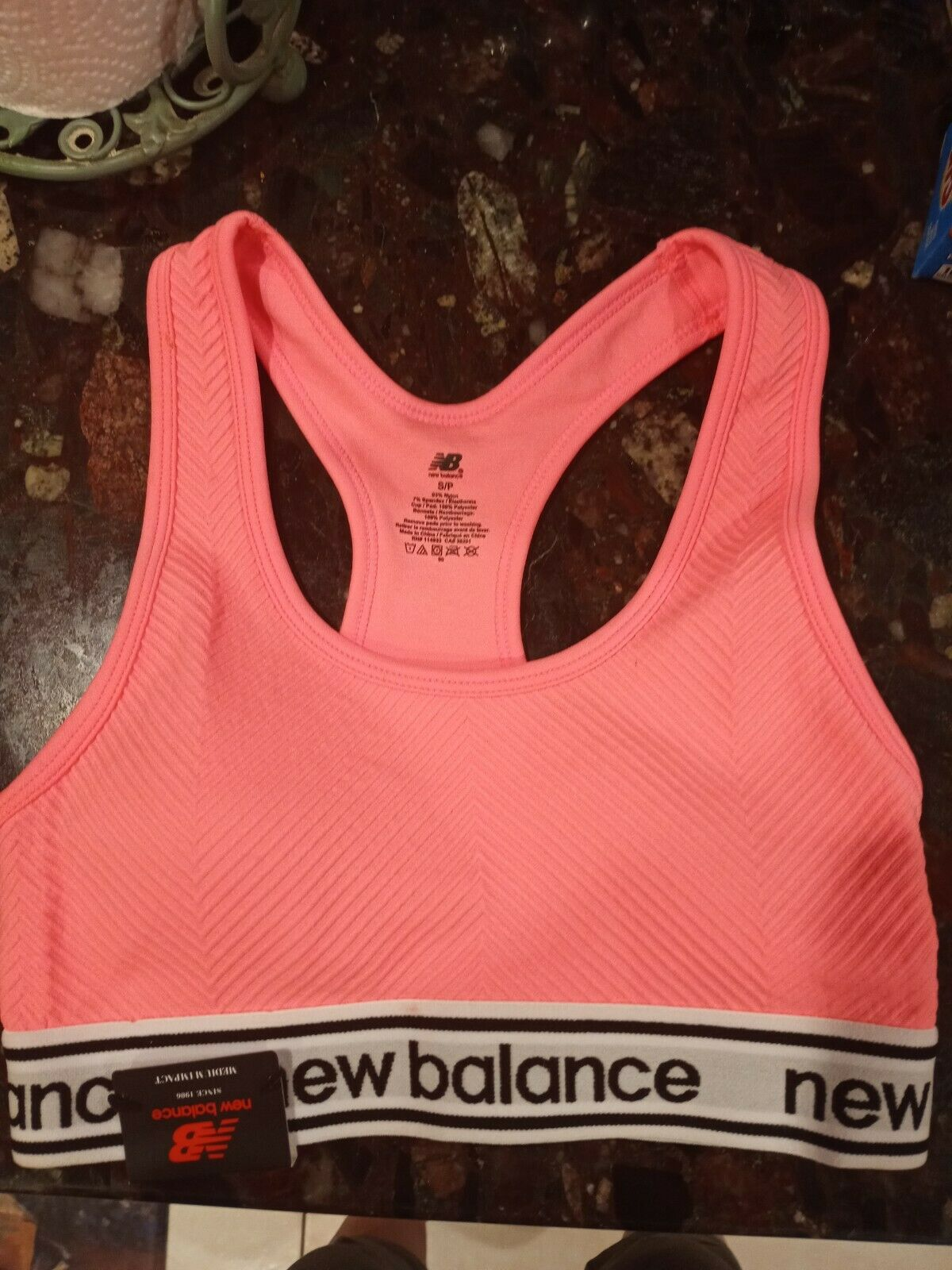 New Balance sports bra athletic color pink size small