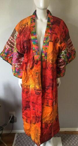 Vintage Patchwork Kimono Style Reversible  Robe Ma