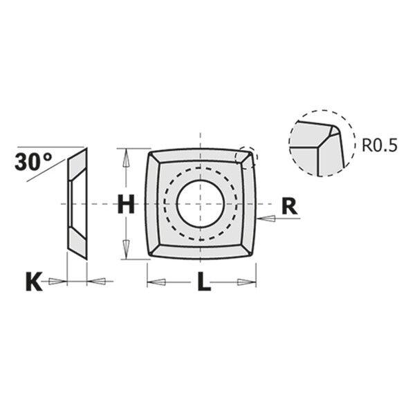 CMT Coltello reversibile standard 4 taglienti a 30° (conf.10 pezzi) cod.:790.152