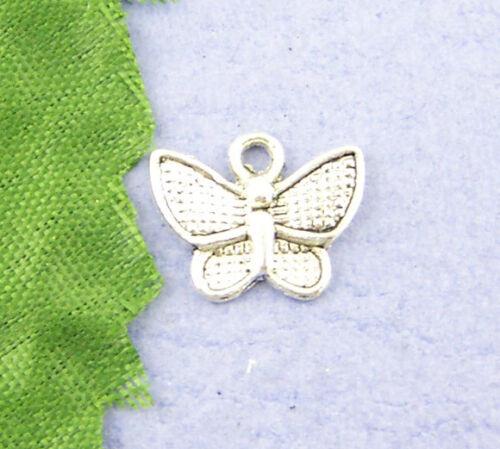 70 Pendentifs Breloques Charms Papillon 10*13mm
