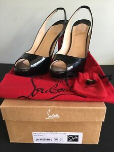 8f4c281eaf1 Details about Christian Louboutin Private Number 120 Peep Toe Slingback  Pump Black Patent 38.5