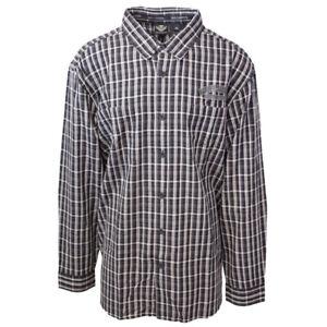 Harley-Davidson-Men-039-s-Black-Grey-Plaid-L-S-Woven-Shirt-S03