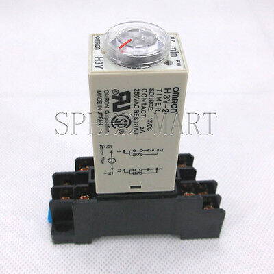 Time Relay Delay DC12V H3Y-2 Power On Timer 0~60 Minute DPDT /& Base Socket