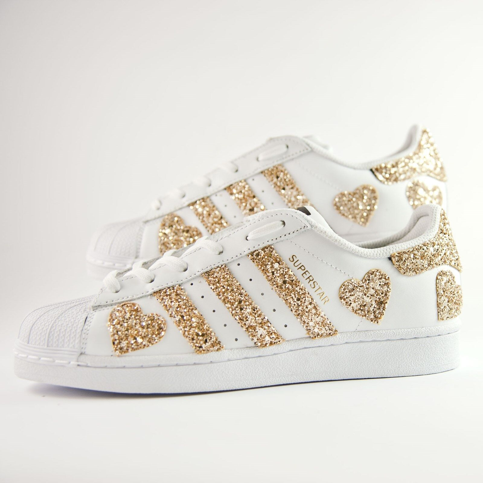 shoes Adidas Superstar with gold Glitter