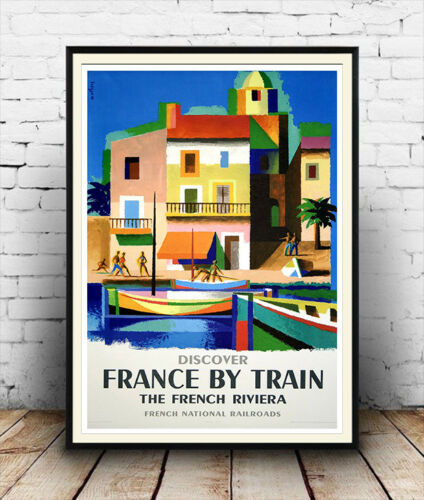 Discover France by car Old Travel Poster reproduction