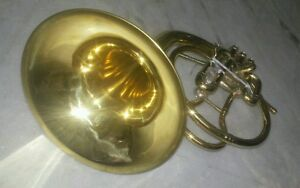 HORN-MELLOPHONE-PURE-BRASS-MADE-IN-BRASS-POLISH-EXTRA-SLIDE-FREE-CASE-amp-MOUTHPC