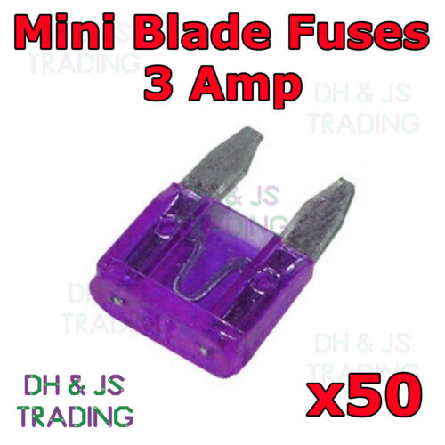 50x Mini Blade Fuses 3 Amp Car Auto Van Motorbike Electrical Blade Fuse 3a ATM