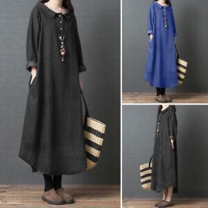 Womens-Oversize-Long-Sleeve-Casual-Loose-Kaftan-Dress-Ladies-Baggy-Maxi-Dresses