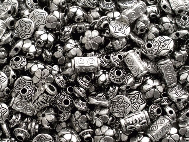 50 Mixed Chunky & Large Tibetan Silver Metal Spacer Carved Alloy Beads 7mm-14mm