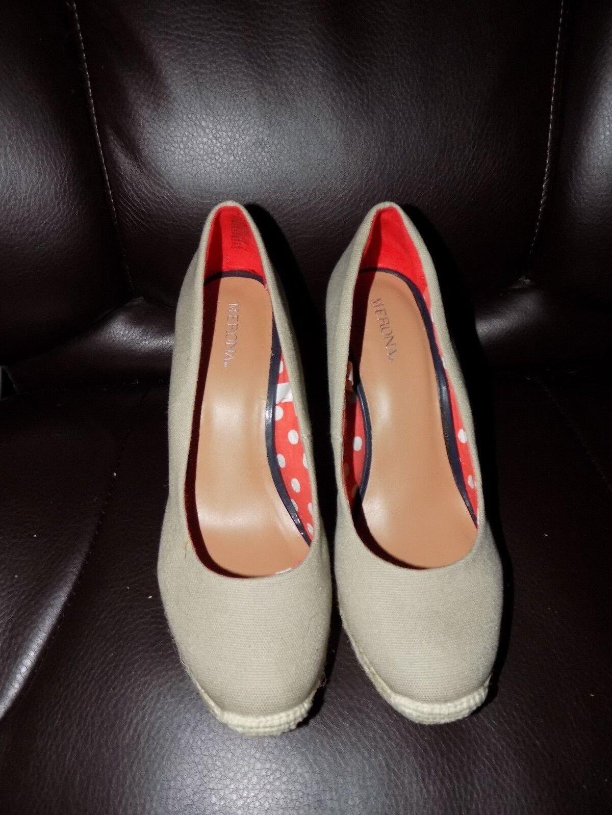 Merona Size Beige Canvas Sisal Wedge Shoes Size Merona 7 Women's EUC c42d4e