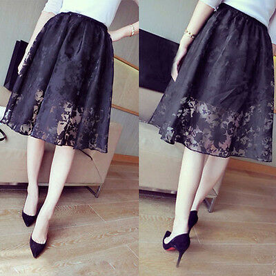 Ladies Double Layer Maxi Dress Flower Lace Party Elastic Waist Skirt Womens