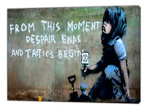 Banksy Rebellion Despair Ends Art Reprint on Framed Canvas Wall Art Home Decor