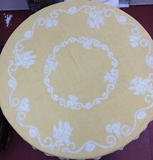 "Vintage TABLECLOTH EMBROIDERY FLORAL 58"" with Fringe  ROUND  TEXTILES ART"