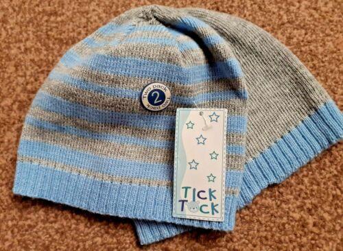 Tick Tock Enfant Beanie Chapeaux bleu//gris taille unique lot de 2 différents BNWT