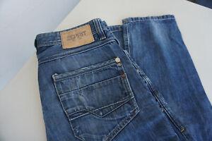 ESPRIT-Herren-Jeans-Hose-32-34-W32-L34-stonewashed-used-blau-TOP-AC2