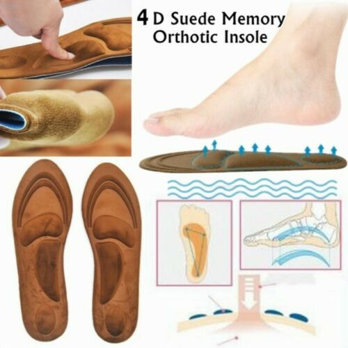 4D Suede Memory Foam Orthotic Insole Arch Support Orthopedic Insoles Shoe Pads U
