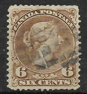 CANADA-Scott-27a-Large-Queen-6-cents-yellow-brown-Used-VG-F