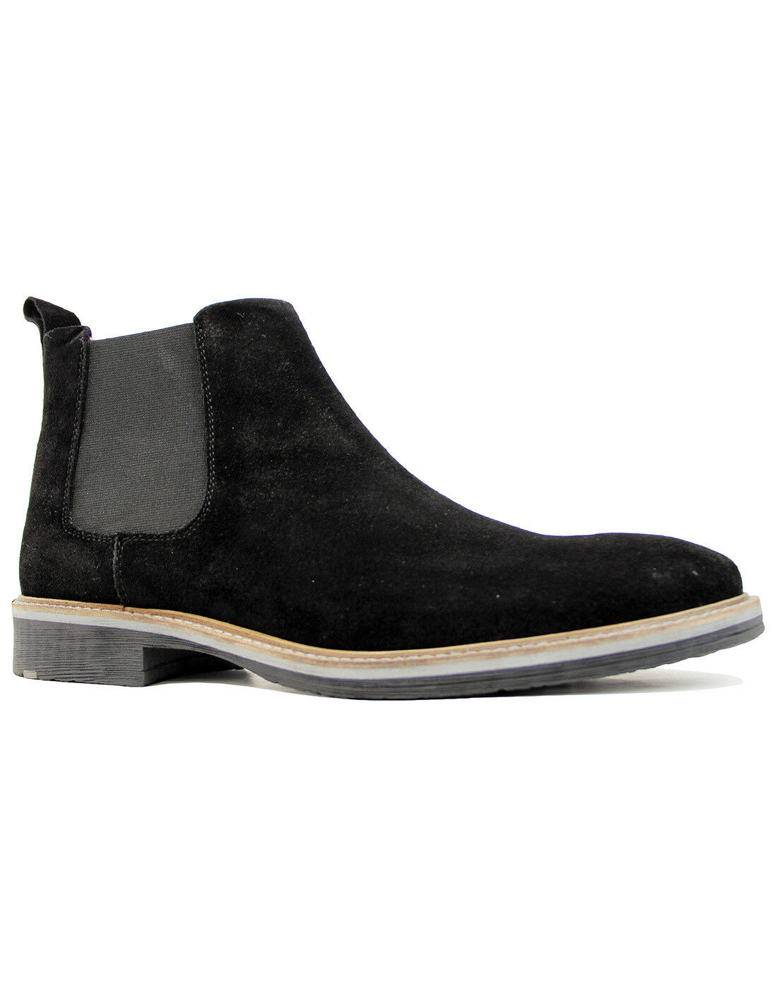 NEW MOD RETRO 60s MENS SUEDE CHELSEA Stiefel with tipped sole schwarz M611AS Loc 16D