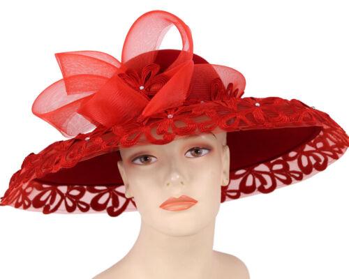2396 Women/'s Wool Red Church Hats Felt