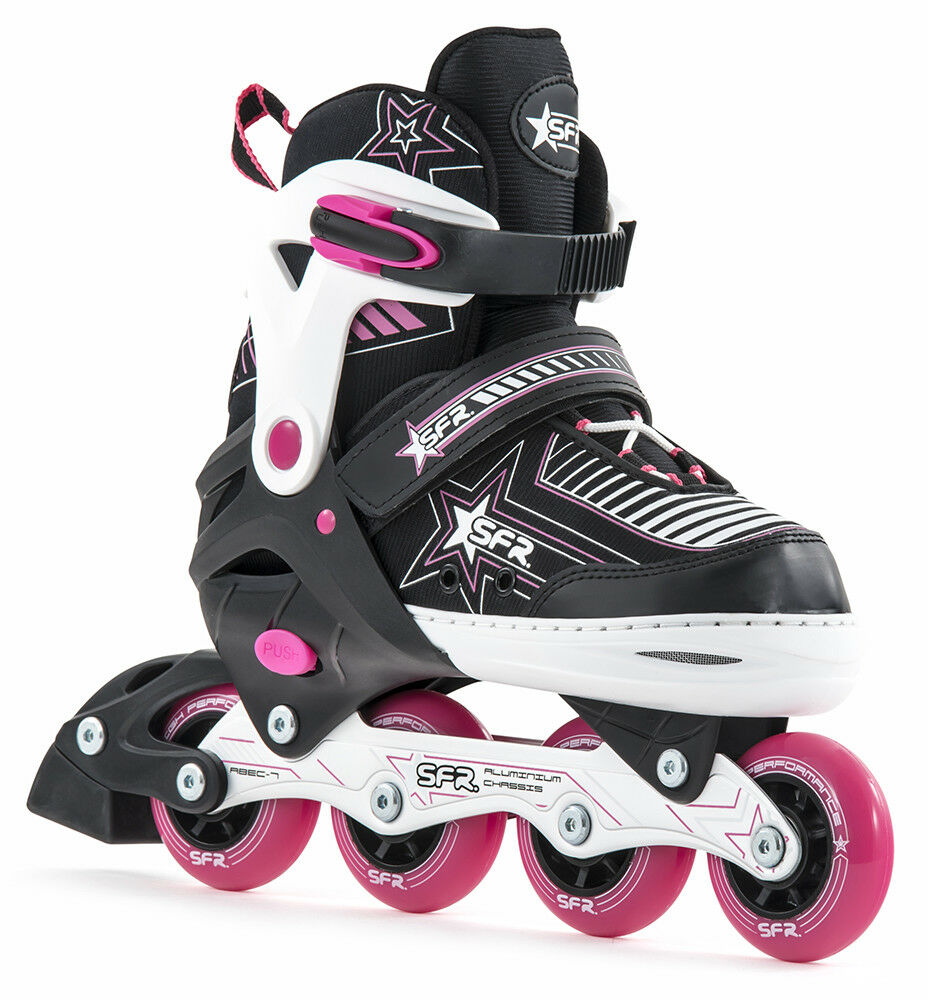 SFR Pulsar Adjustable Inline Roller Skates Rosa - Optional Safety Pad Set