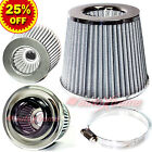 """3"""" 76mm Inlet HIGH FLOW Short Ram Cold Air Intake ROUND Cone MESH Filter CHROME"""