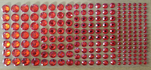 216 ROUND JEWELS RHINESTONES CRAFTING DECORATIONS STICKERS RED PURPLE BLUE BLACK