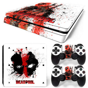 Deadpool-Vinyl-Skin-Sticker-for-Sony-PS4-Slim-Console-amp-2-Controllers