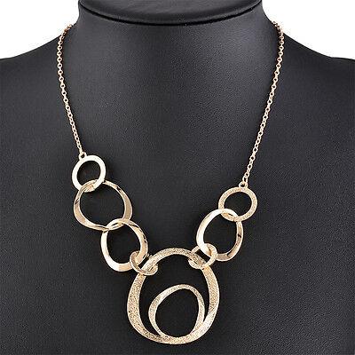 Fashion Women Punk Jewelry Gold Circle Pendant Chain Choker Statement Necklace