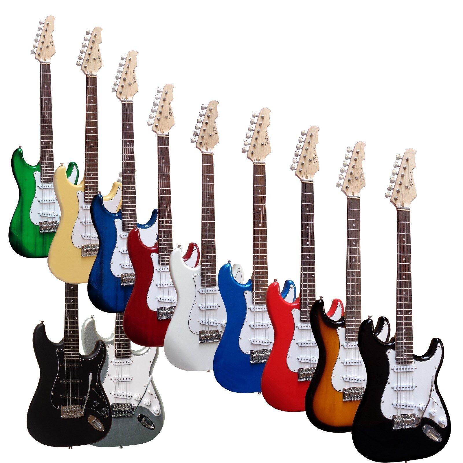 E-Gitarre MSA-ST5 schwarz, Massivholzkörper, Top AUSWAHL, mit Anschlußkabel n
