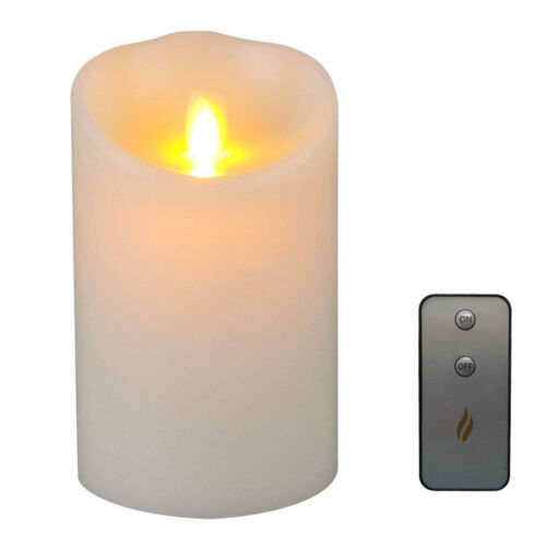 """Luminara Flameless Moving Flame Ivory Candles Pillar Wax Scented with Remote 5/"""""""
