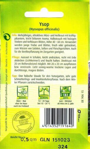attraktives Würz-/& Heilkraut mit kräftig-pikantem Aroma Kräuter Samen Ysop