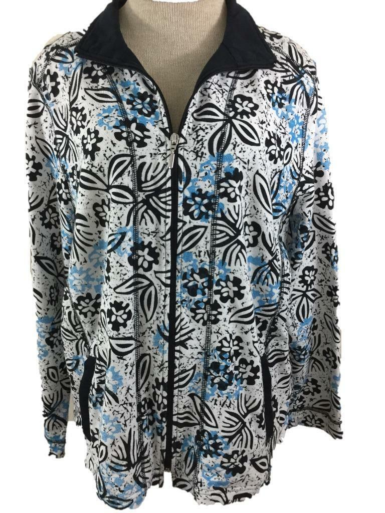 Allyson Whitmore Weekend knit jacket size L large full zip 2 pockets blue floral