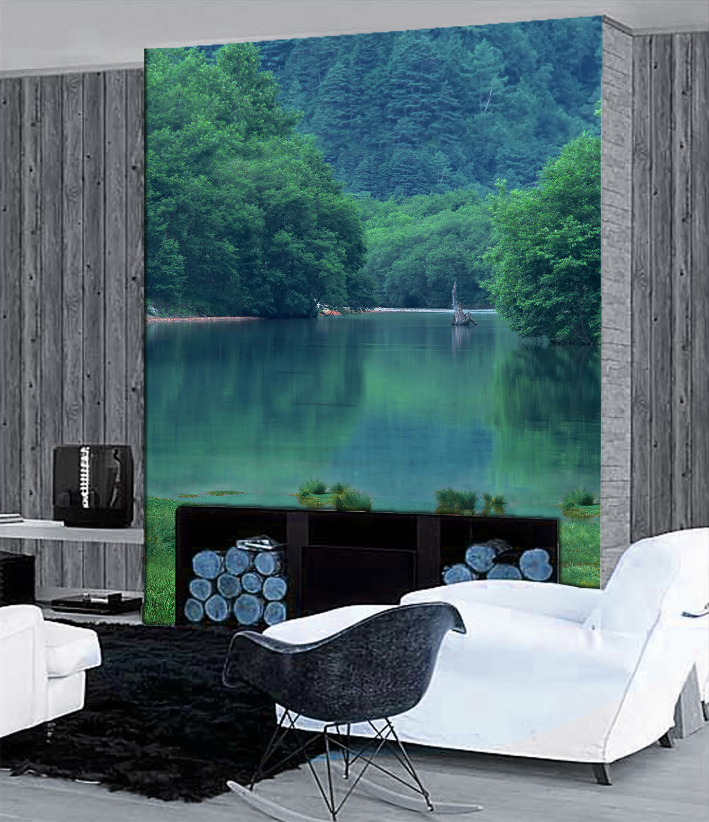 3D Grün Wood Lake 87 Wallpaper Mural Paper Wall Print Wallpaper Murals UK Lemon