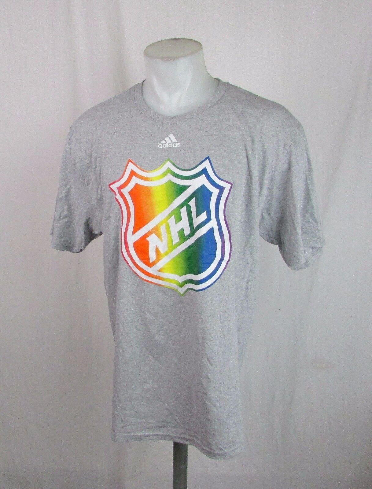 LNH Hommes L, XL Gris Rainbow Chemise à manches courtes avec logo NHL Adidas A12MLF