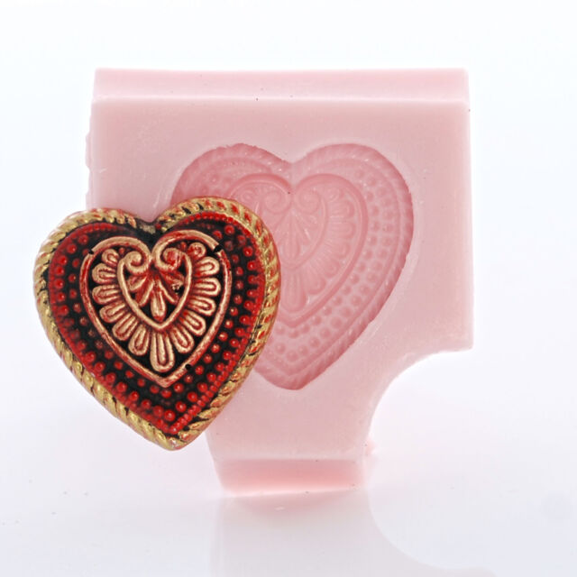 Silicone Heart Shaped Mold Chocolate Fondant Candy Resin Polymer Clay Mold (843)