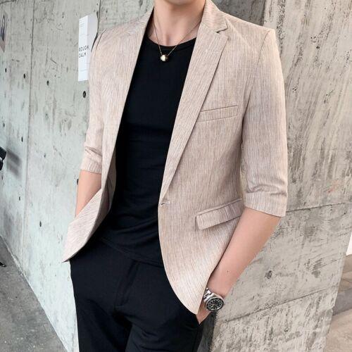 Men/'s One Button Slim Fit Lapel Casual Jacket Half sleeve Blazer Plain Leisure L