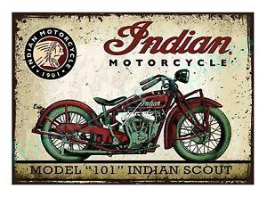 Plaque carton vintage moto Indian Motorcycle décoration rétro Neuf
