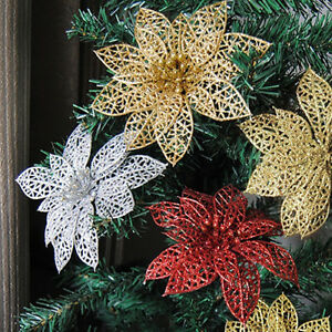 10PCS-6-039-039-PLASTIC-CHRISTMAS-GLITTER-SPARKLE-POINSETTIA-FLOWER-TREE-DECOR-KAWAII