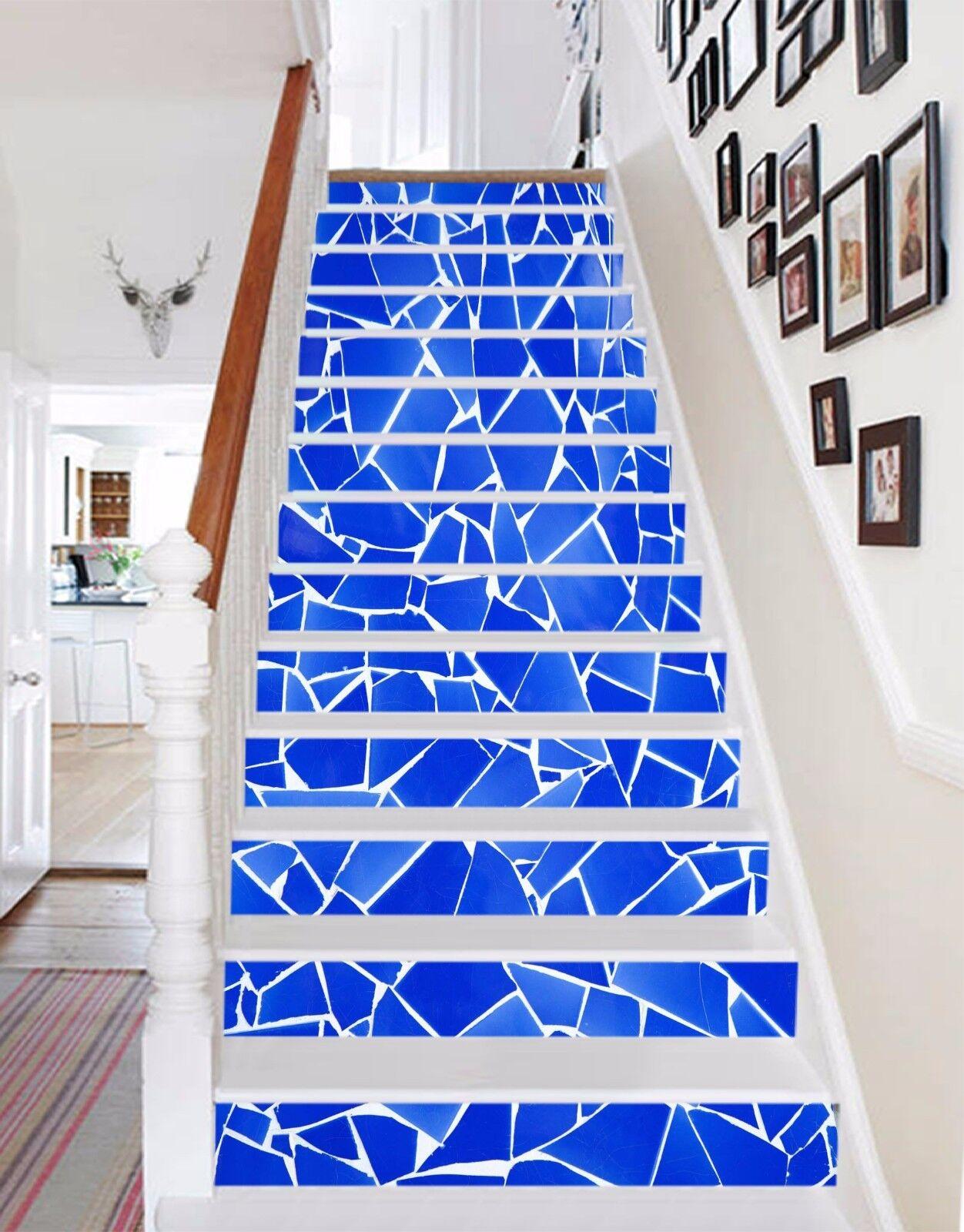 3D Bleu Shard 23 contremarches Décoration Photo Murale Autocollant Vinyle Papier Peint US