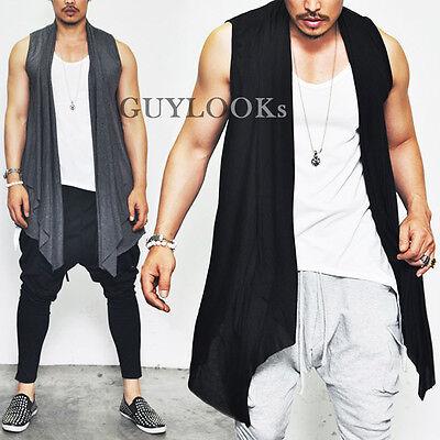 Designer Homme Ruffle Shawl Collar Mens Shirring Open Cardigan Vest By Guylook