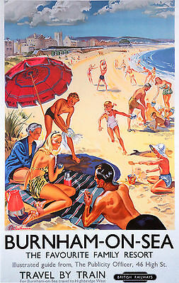 BURNHAM- ON- SEA Vintage Deco Railway/Travel Poster A1,A2,A3,A4 Sizes