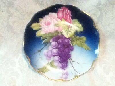 """VINTAGE 8"""" Rosenthal Bavaria Gold Blue Plate Dish Hand Sign Number Grape Rose"""