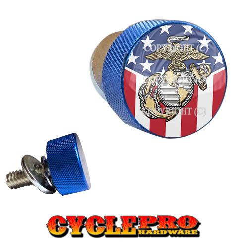 Blue Knurled Billet Seat Bolt 96-UP Harley Touring USMC USA FLAG 102
