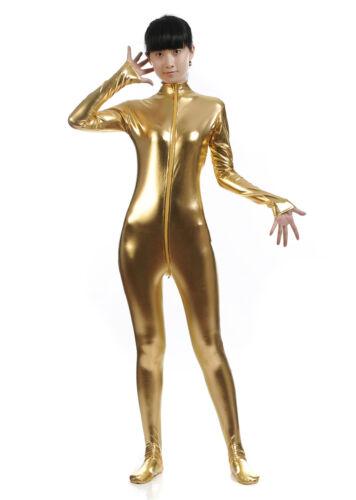Stage Play S-XXL Cosplay Women Zentai Metallic Spandex Suit Headless Front Zip